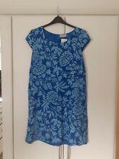 Bassini Linen Damask Print Trapeze Dress Blue Free Size