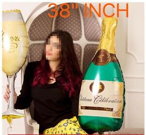 "38"" Champagne Glass and Bottle Foil Balloon Large Helium Wedding Birthday baloon"