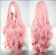 For Cosplay Vocaloid Megurine Luka 85CM Long Curly Wavy Pink Hair Anime Wig