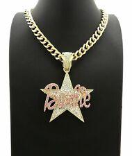 """Women Hip Hop Gold PT Barbie Star Pendant & 9mm 18"""" Cuban Chain Fashion Necklace"""