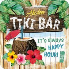 Tiki Bar Aloha Always Happy Hour Blech Untersetzer 9x9 cm Metall Tin Sign USE47