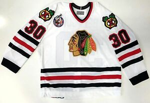 ED BELFOUR AUTHENTIC 1993 CUP 100TH CHICAGO BLACKHAWKS WHITE CCM JERSEY SIZE 52