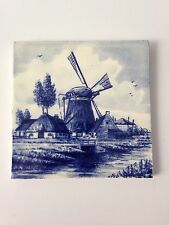 "Vintage antique ""Orio"" Delfts Holland Blue Tile Windmill Made In Belgium H"