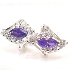 Women New White Gold Plated Purple CZ Cubic Zirconia Big Wedding Luxury Earrings