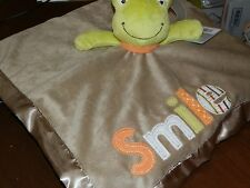 CARTERS SECURITY BLANKET FROG SMILE LOVEY RATTLE GREEN TAN BLANKEY UNISEX SOFT