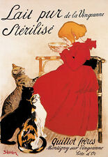 Sterilized Milk - French Cat Advert A3 Art Poster Print