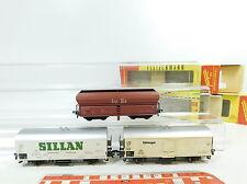 BB83-1# 3 x Fleischmann H0/DC Vagón de mercancía DB: 1467 + 1467 S Sillan+