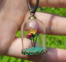 2pcs Dome Cabochon Glass Bottle Handmade Charms Pendant Necklace Jewelry Finding