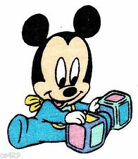 "2.5"" Disney babies baby mickey mouse 2 blocks vintage fabric applique iron on"