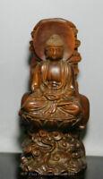 Chinese Wood Boxwood Craved Buddhism Shakyamuni Amitabha Buddha Sakyamuni Statue