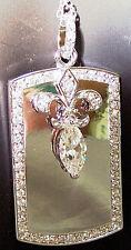 925 Sterling Silver & Swarofski Cubic Zirconia Fleur de Lis Pendant/Necklace