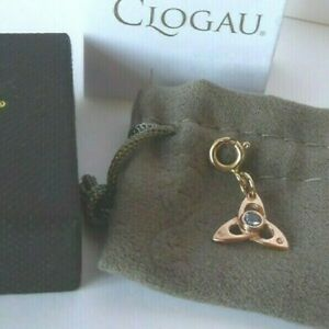 Clogau Gold 9ct Rose Gold Sapphire Triquetra Celtic Charm Dangle Traditional