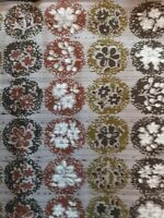 Vintage Mid Century Brown Print Cotton Fabric 3 2/3 Yards