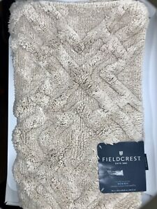 "Fieldcrest Tufted Lattice Spa Bath Rug - Tan   20"" X 34""  100% cotton   NEW"