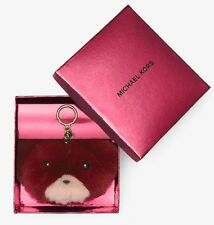 Michael Kors Teddy Bear Pom Fur Key Chain Toy Fob Bag Charm Black/White/Brown