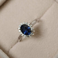 1.80 Ct Oval Cut Real Sapphire Diamond Engagement Ring 14K White Gold Size 6 7 4