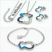 18k Platinum Plated Bear Crystal Pearl Charm Jewelry Set Women Necklace Earrings