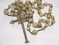 ROSARY. MOTHER OF PEARL AND SILVER. 79 CM. SPAIN. 19th CENTURY