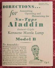 ALADDIN BOOKLET / B BURNER reprint user manual alladin