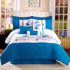 Queen Size 11-Piece Blue Floral Comforter Set with matching curtains