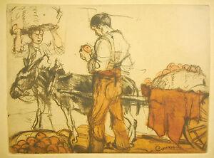 Le vendeur d'orange signé Armand COUSSENS gravure des Chalcographie du Louvre