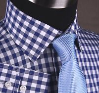 Solid Blue Gingham Check Mens Business Shirt, Wrinkle Free Formal Dress Fashion