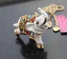 Betsey Johnson Necklace Elephant White Elephant Beautiful Africa Gold Crystals