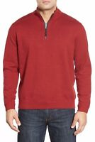 ~*Tommy Bahama Flip Side Reversible Quarter Zip Twill Pullover NWT, S Red/Brown