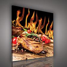 CANVAS WANDBILD LEINWANDBILD  Küche Essen Feuer Fleisch Pfeffer 3FX10320O5