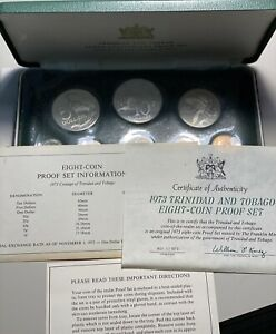 1973 Trinidad and Tobago 8 Coin Proof Set from the Franklin Mint