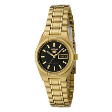 Seiko 5 Classic Ladies Size Black Dial Gold Plated Stainless Steel Strap Watch