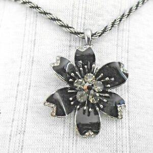 SILVER & BLACK ROPE CHAIN WITH BEAUTIFUL BLACK ENAMELLED FLOWER  PENDANT