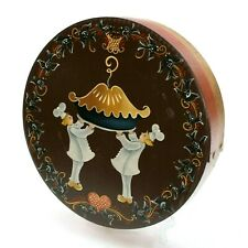 """Vintage 4 & 20 Black Birds Baked in a Pie Bakers 13"""" Round Wooden Shaker Box"""
