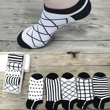 5 Pairs Sale Men's Cotton Black White Geometry Casual Sports Short Anklet Socks