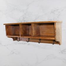 Mango Wood Wall Mounted Shelf Hanging Storage Slots Key Hooks Display Shelving