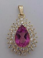 14k Yellow Gold 5CT Mystic Coated PINK TOPAZ Pendant  5.3g
