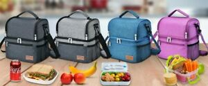 Insulated Lunch Picnic Cooler Bag Men Women Thermal Storage Cool Box + Ice Pack