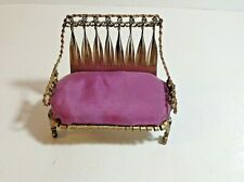 """Vintage Curled Tin Can Doll House Sofa Couch Purple Cushion 4"""" x 2"""" x 3.5"""""""