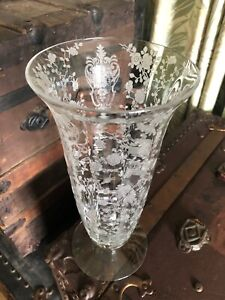 "Vintage CAMBRIDGE Optic ROSE POINT 11"" Footed VASE Etched"
