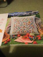 Flora & Fauna Summer Cushion Cross Stitch Chart - Duck, Rabbit, Squirrel, Flower