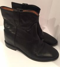 Isabel Marant 40/US 10 Black Leather CRISI Hidden Wedge Boots Booties #1126