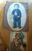 "Lot 2 antique victorian print ""Mothers Boy"" & ""Giant Feast"" Old 1877 Color Art"