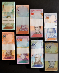 2018 Venezuela Full Set $2-$500 Soberanos UNC 8 Packs 800 Pc Total New SKU034