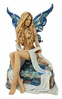 Veronese Design Jeweled Blue Sapphire Sexy Fairy / Angel Statue Butterfly Wings