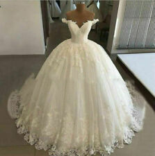 Off Shoulder Wedding Dresses Ball Bridal Gowns Appliques V-Neck White Ivory Lace