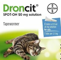 Droncit Spot On Tape Wormer for Cats (4 Pack) - Apply to the skin liquid wormer