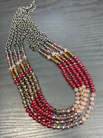 Vintage Grey Tone 5 Strand Layered  Red Pink Ab Crystal  Necklace 20""