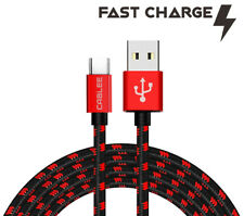 Fast Charge Type-C USB-C 4ft,6ft,10ft Red/Black Cable Data Sync Cable for Tablet