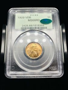 1909 VDB Lincoln Cent PCGS MS66RD CAC OGH