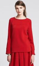Banana Republic XS Red Long Sleeve Boat Neck Top Blouse Oversized CUTE!